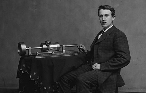 1Photograph of Edison with his phonograph (2nd model), taken in Mathew Brady's Washington, DC studio in April 1878