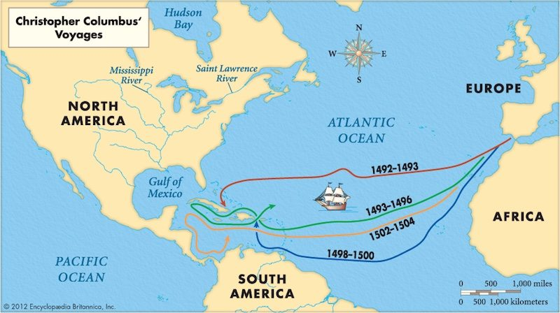 The routes of the four Voyages of Christopher Columbus