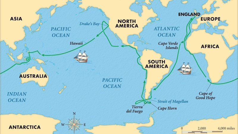 Map that shows the circumnavigation travel of Francis Drake between 1577 and 1580