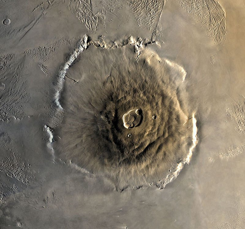 A composite Viking orbiter image of Olympus Mons on Mars