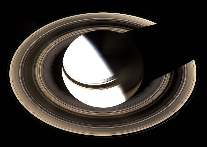 The rings of Saturn (imaged here by Cassini in 2007) are the most massive and conspicuous in the Solar System