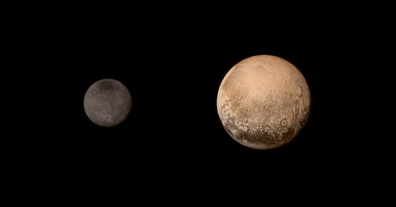 Pluto and Charon as viewed by New Horizons (natural color; July 11, 2015)