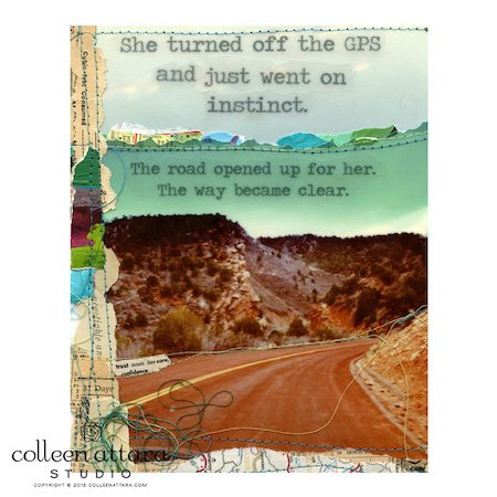 "Mixed media collage print ""GPS"" by Colleen Attara"