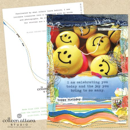 "Mixed media collage card ""Happy"" face by Colleen Attara"